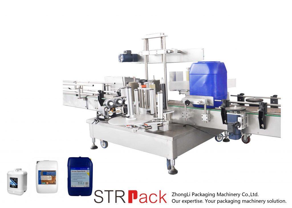 Mesin Pelabelan Sisi Berkembar Automatik untuk dram 5-25L